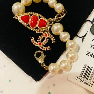 Chanel 14A  Pearl Red Gripoix CC Charm Bracelet